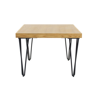 Hairpin Coffee Table Square Natural Top Black