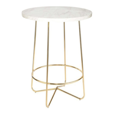 Marble Bar Table White/ Gold