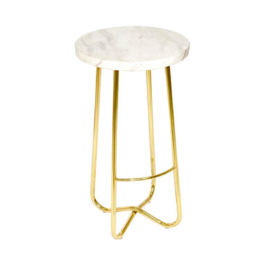 Marble Stool White/ Gold