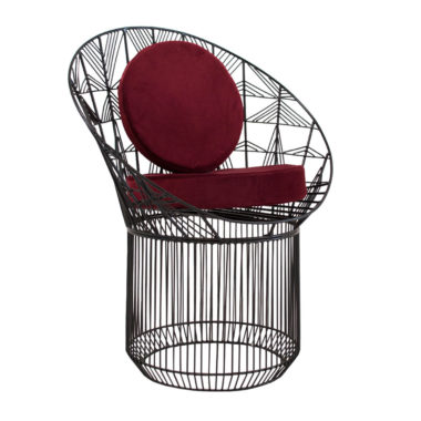 Marilu Peacock Chair Black/Velvet Beetroot