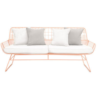 Marilu Lounge Peachy Pink/ Pillows White / Grey